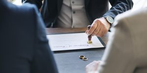 lawyer offering advice to client going through divorce