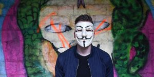 Anonymous person wearing mask
